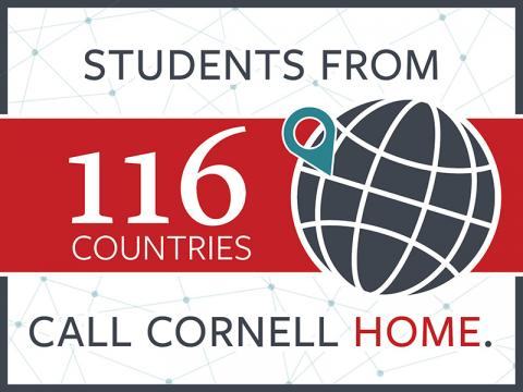 Students from 116 countries call Cornell home