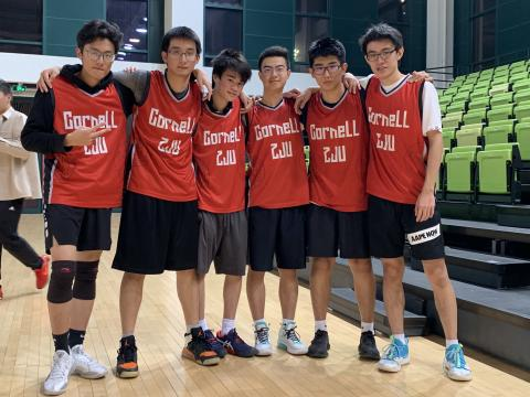 ZJU basketball team, six students in red jerseys